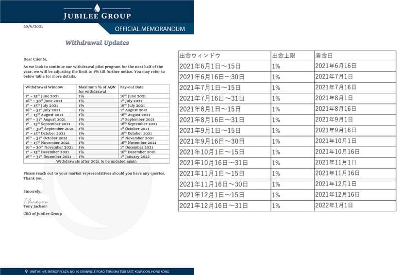 ジュビリーエースの出金スケジュール表