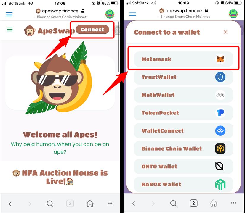 Ape swapの接続方法