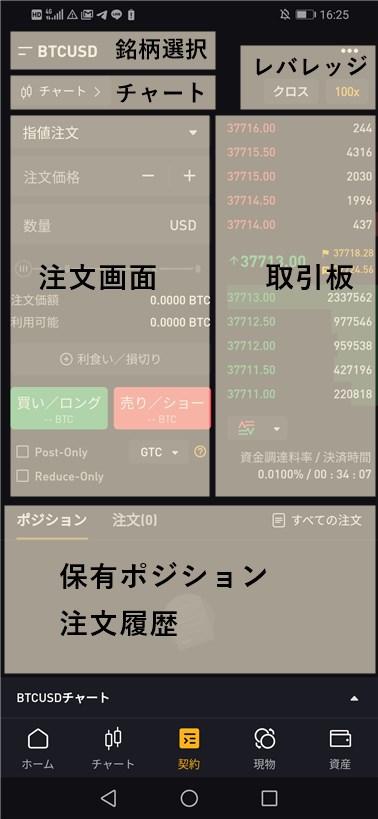 ByBitアプリの取引画面